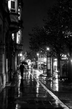 'Wet City Streets' by Kelly Love on artflakes.com as poster or art print $16.63 #luxembourg #photography #blackandwhite #streetphotography