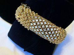 Elegant Vtg Signed Ciner Rhinestone Encrusted Gold Plate Articulated Bracelet   eBay