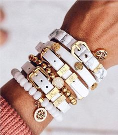 """We like to think whoever said, """"Less is more"""" wasn't talking about stacking. Love Bracelets, Cartier Love Bracelet, Bangles, Rustic Cuff, Accessories, Jewelry, Fashion, Bracelets, Moda"""