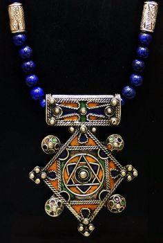 Vintage Berber Enameled Amulet & Lapis Lazuli by SilkRoadJewelry
