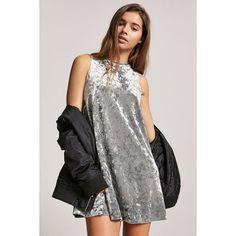 Forever21 Crushed Velvet Trapeze Dress (£8.87) ❤ liked on Polyvore featuring dresses, sage, round neck sleeveless dress, tent dress, forever 21 dresses, full length dresses and sleeveless dress