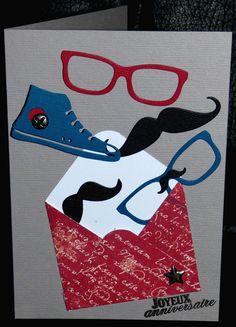 carte d'anniversaire ado avec enveloppe et envolée lunettes, moustaches et basket