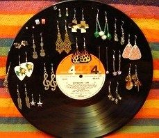 Vinyl LP Record Earring Holder (Psst: use your soldering iron with the super sharp tip. Blam. Done.)