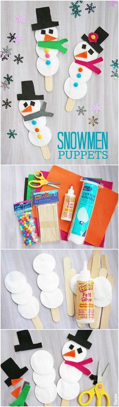 Using wood craft sticks, felt and some fun colorful embellishments, you too can make an adorable cotton pad snowman puppet together with your child.