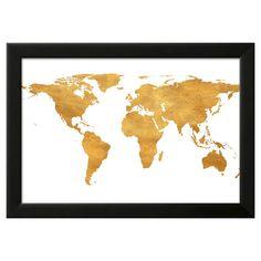 Gold World Map (gold foil) Black Wood Framed Art Print