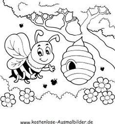 Ausmalbild Biene am Bienenstock