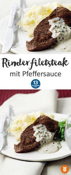 Rinderfiletsteak mit Pfeffersauce   2 Portionen, 12 SmartPoints/Portion, Weight Watchers, fertig in 35 min.