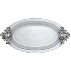Carry history in your fingertips with this Fleur-De-Lis Glass Platter from Arthur Court. Symbolic of French royalty, fleur-de-lis emblems rest on each end of this piece and act as handles. Each swirl and line in these handmade, aluminum designs gleams b Traditional Platters, Traditional Kitchen, French Royalty, Arthur Court, 5 W, Serving Dishes, Decor Styles, Engagement Rings, Metal