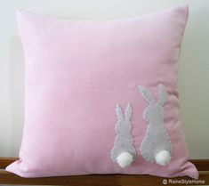Two Little Lovely Rabbits Light Pink Pillow by RaineStyleHome