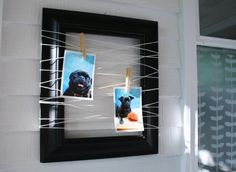 What an unusual, cost effective way to hang your pics. I like it!