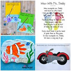 Father's Day Handprint Crafts & Footprint Gifts for Dad: Fun list of easy last minute handprint and footprint Father's Day art and craft projects to make with kids. Fingerprint Crafts, Footprint Crafts, Man Crafts, Arts And Crafts Projects, Kids Crafts, Fathers Day Art, Happy Fathers Day, Easy Fall Crafts, Crafts For Kids To Make