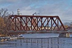 Railroad bridge with Peterborough, Ontario in the background Peterborough Ontario, Railroad Bridge, Slice Of Life, Freaking Awesome, Travel Tips, Canada, World, Bridges, City