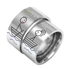 Love on boat matching couple ring silver band ring di ASHYL, $140.00