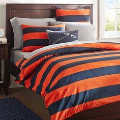 Rugby Stripe Duvet Cover + Sham, Navy/Orange | PBteen