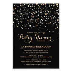 Gold Star Confetti Baby Shower Invitation