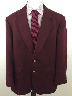Men's Classy Stafford Red Burgundy Maroon Blazer 44R Gold Button Polyester Wool  #Stafford #TwoButton