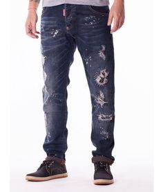 Dsquared Jeans Color: denim Slim fit Dsquared accessories Patches and splashes of paint Branded Dsquared buttons Leather logo Dsquared on the back pocket. Paint Brands, Jeans Pants, Designer Clothing, Denim, Leather, Fashion, Pants, Fashion Styles, Flare Leg Jeans
