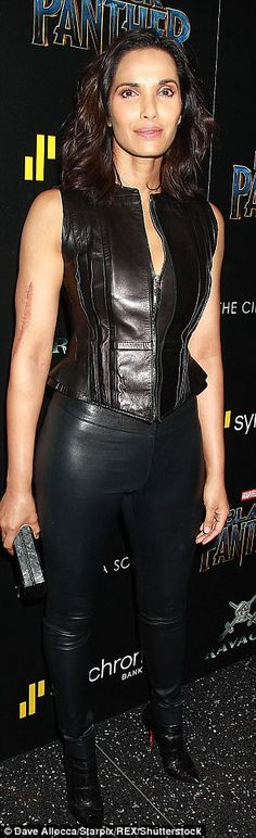 Guests: Actress Gina Gershon and TV personality Padma Lakshmi attended. Gina Gershon, Padma Lakshmi, Black Panther, Movie Stars, Personality, Leather Pants, Celebrity, Actresses, Tv