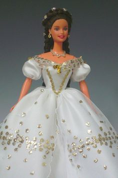 Sissi Barbie in white gown with golden pricks by Bavarian Dolls, via Flickr
