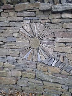 Dry-stone wall art in the Garden of Evolution, Dundee Botanic Garden