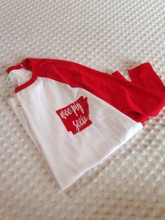 Women's Razorback Raglan White and Red 3/4 Length Sleeve Shirt - Arkansas Razorbacks Woo Pig Sooie by GGvinylmonograms on Etsy https://www.etsy.com/listing/464148355/womens-razorback-raglan-white-and-red-34