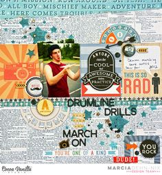DrumlineDrills - scrapbook layout created with the Made Of Awesome collection from Cocoa Vanilla Studios. #cocoavanilla