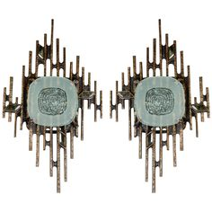 Huge Pair of Sconces Designed by Régis Royant | From a unique collection of antique and modern wall lights and sconces at https://www.1stdibs.com/furniture/lighting/sconces-wall-lights/