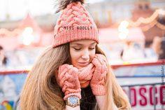 Купить Комплект Classik - бежевый, коралловый, шапка вязаная, женская шапка, зимняя шапка, аксессуары