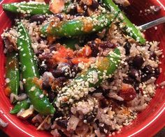 Peapods, black beans, brown rice, hulled hemp seeds, sliced almonds and habanero pepper sauce