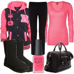 """black and pink"" by j-n-a on Polyvore (minus the purse and nail polish)"