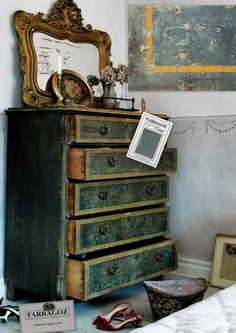 Mood boards for paint inspiration to obtain an authentic looking antique finish on furniture.