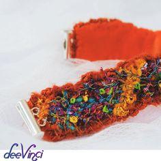 Accessori donne Orange bracciale fibra arte tessile arte arancione tatuaggio copertura Deevinci pronto a nave