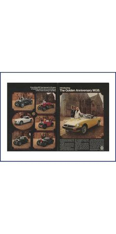 MGB GOLDEN ANNIVERSARY Automobile Original 1975 Vintage Colr Print Ad - Gold British Leyland Convertible Sports Car; 50 Year History by VintageAdOrama on Etsy