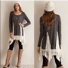 XX The FAITH lace tunic sweater - CHARCOAL A solid sweater tunic top featuring bottom lace detailing throughout. Semi- sheer. Long sleeves. Knit. Lightweight. 100%POLYESTER. AVAILABLE IN CHARCOAL & SAND. PRICE FIRM, NO TRADE Bellanblue Tops Tees - Long Sleeve