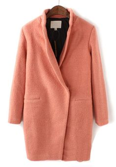 Pink Plain V-neck Long Sleeve Wool Coat