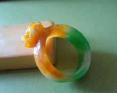 Vintage Two Tone Lucky Jade Carved Flower Ring by iamsonotcool
