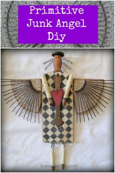 DIY Primitive Junk Angel ~ the wings were racks from an old shower tower....such a smart upcycle!