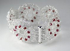 925 Sterling Silver Crocheted Circles Bracelet with Faceted Rubies and Clear Quartz by WovenArtJewellery on Etsy