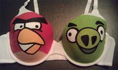 I like how the Angry Bird is staring down the pig... Angry Birds Bra