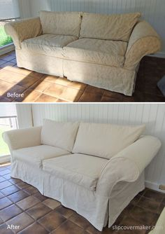 Slipcover custom made with #12 Cotton Duck from Big Duck Canvas. Super durable and more densely woven than a 10 or 12 oz. duck. Love the casual look!