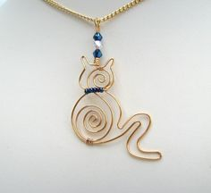Kitty Crystal a pussy cat wire pendant necklace £18.25