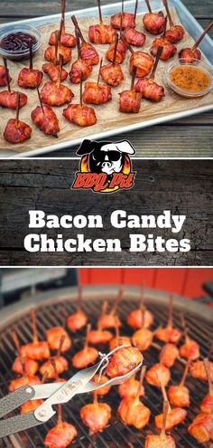 Grilled finger food: Bacon Candy Chicken Bites is for winners! This snack impresses every guest at your grill party; suitable for gas grill and kettle grill Bacon Candy Chicken Bites are an absolutely Chicken Bites, Chicken Nuggets, Barbacoa, Bacon On The Grill, Bacon Bacon, Bbq Grill, Healthy Bbq Recipes, Chicken Recipes For Kids, Appetizers