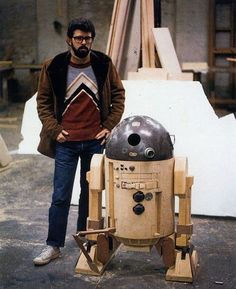 R2D2 (paintless!) and Young George Lucas