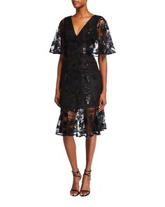 Dress The Population Roseanna V-Neck Flutter-Sleeve Lace Cocktail Dress Sexy Dresses, Evening Dresses, Short Sleeve Dresses, Illusion Dress, Dress The Population, Mermaid Dresses, Silk Chiffon, Flutter Sleeve, Fit And Flare