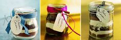 Winter wedding favors--drink mixes in jars with ribbon and pretty tags. <3