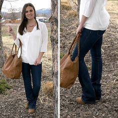 An outfit perfect for a classic look: a white quarter sleeve, V-neck top that pairs just right with our new Flying Monkey boot-cut jeans!  #ClassicNeverDies #ootd #ApricotLaneMissoula