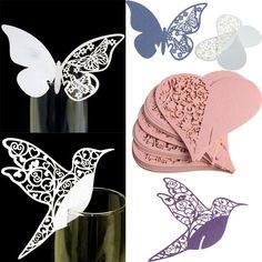 50pcs tarjeta hueca nombre decoración taza de cristal boda titular de tarjeta de lugar
