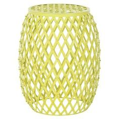 """Yellow iron garden stool with basket weave-style design. Product: Garden stoolConstruction Material: IronColor: Matte yellowFeatures:  Contemporary style and timeless look and feelBasket weave-style Dimensions: 17.7"""" H x 15"""" Diameter"""