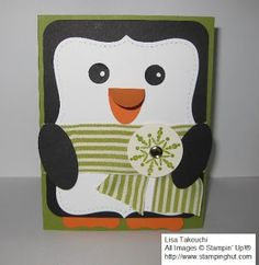Top Note Penguin Card by Lisa Bennett at StampingHut