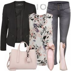 Solo mio Outfit baletas rosa, jean de mezclilla, blusa estampada, blazer nehra, bolso rosa Hugo Boss y brasaletes de diamantes Cartie❤️ # Casual Outfits mezclilla flats PinkFlower Outfit - Business Outfits bei FrauenOutfits. Komplette Outfits, Casual Work Outfits, Work Attire, Spring Outfits, Fashion Outfits, Outfit Work, Blazer Outfits, Dress Casual, Fashion Clothes